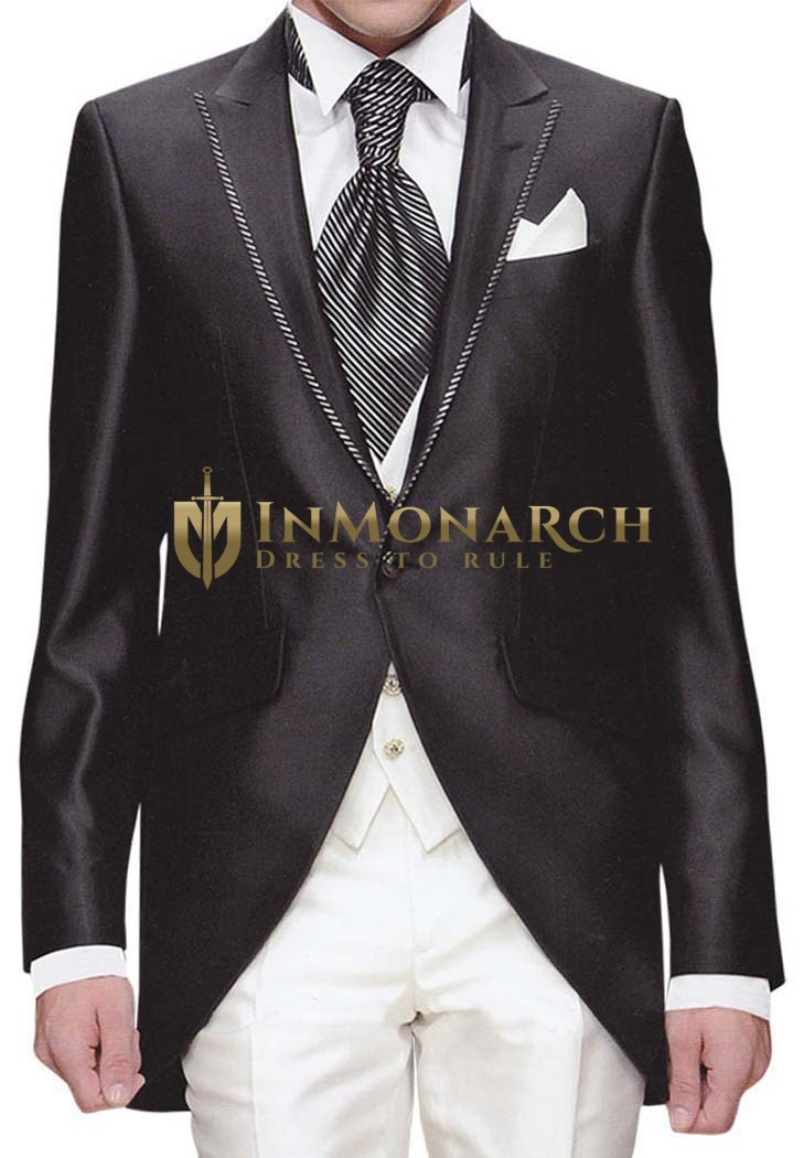 Mens Black Tuxedo Suit Modern Look 6 Pc