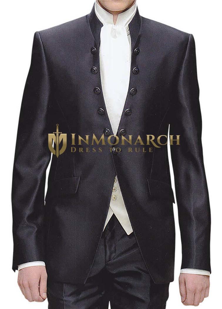 Mens Black Tuxedo Suit Royal Look Engagement 3 Pc