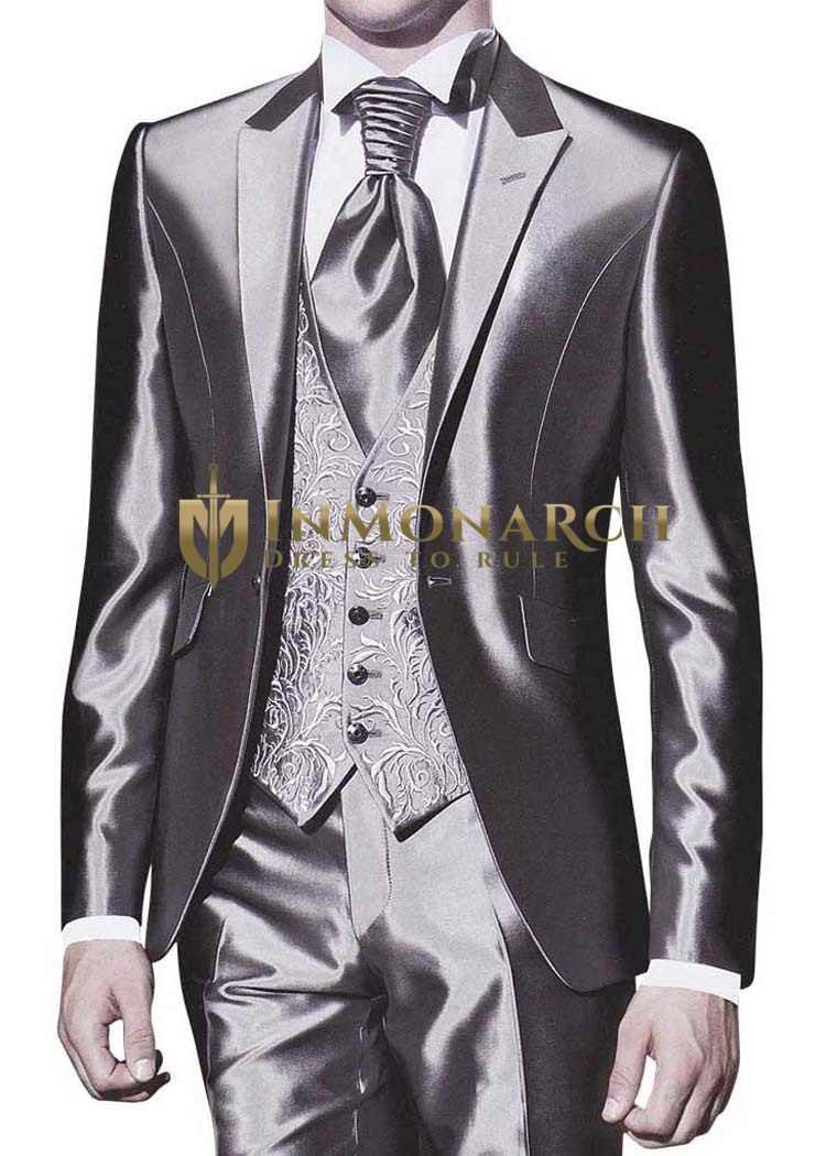 Mens Sharkskin Tuxedo Stunning Wedding 5 pc
