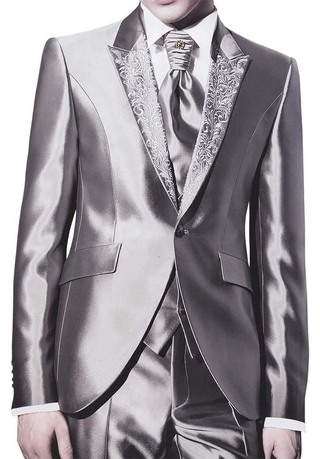 Mens Silver Grey 6pc Tuxedo Suit with Embroidered lapel one button Jacket