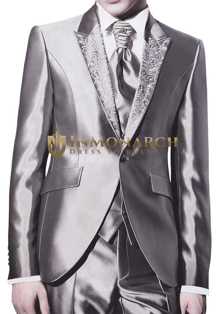 Mens Sharkskin Party Tuxedo Designer Reception 6 pc