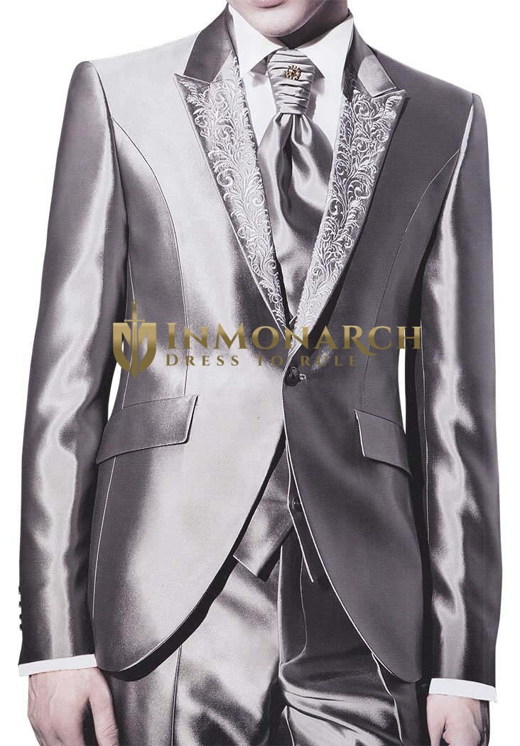 Mens Sharkskin Party Tuxedo Designer Reception 6 pc