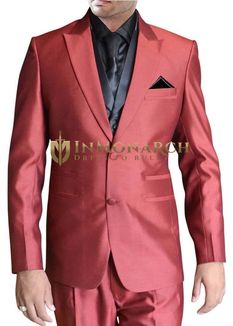 Mens Crimson Red Tuxedo Suit Classic Look 6 pc