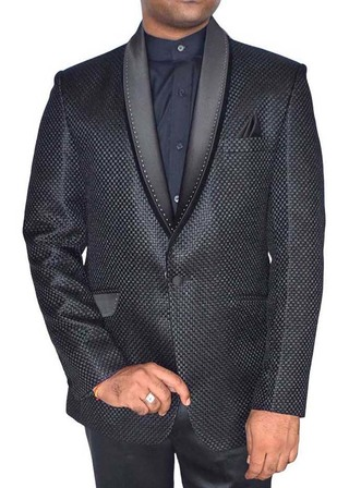 Mens Black Jute Tuxedo Suit Lovely 1 Button 4 Pc