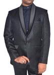 Mens Black Jute Tuxedo Suit Lovely 1 Button 4 Pc
