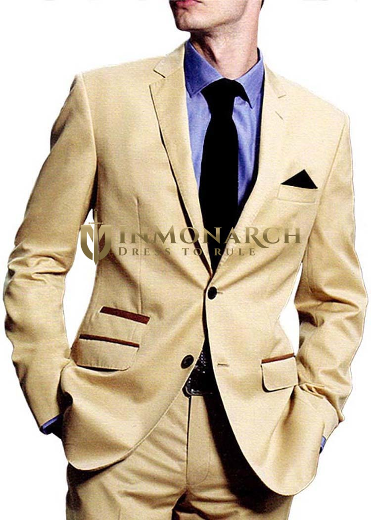 Mens Beige Tuxedo SuitClassic Two Button 5 Pc