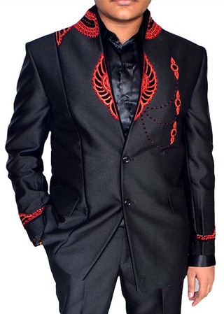 Mens Black 3 Pc Tuxedo Suit Red Embroidered