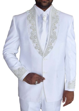 Mens White 5 Pc Tuxedo Suit Classic Embroidered