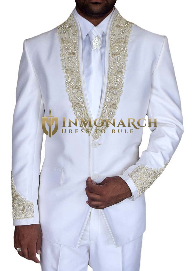 Mens White Tuxedo Suit Handsome Embroidered 5 Pc