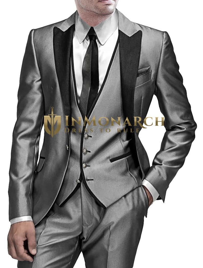 Mens Silver Tuxedo Suit Fabulous 6 Pc