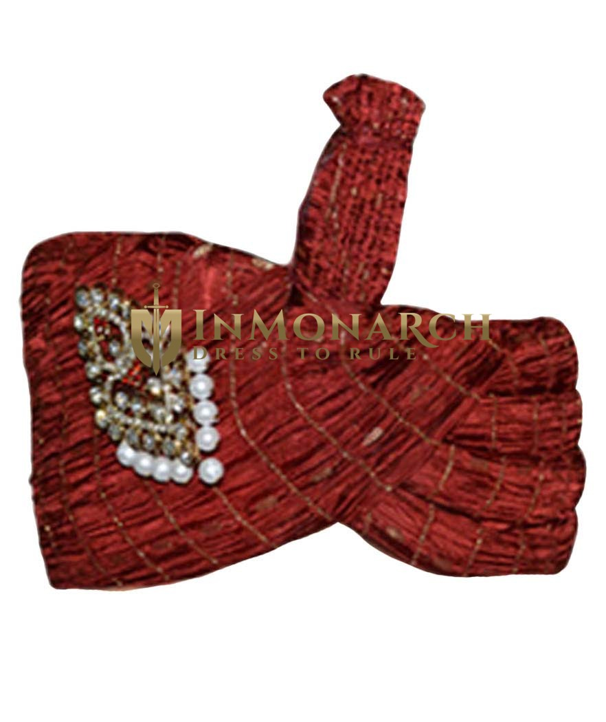 Wedding Maroon Turban Safa Cap For Groom