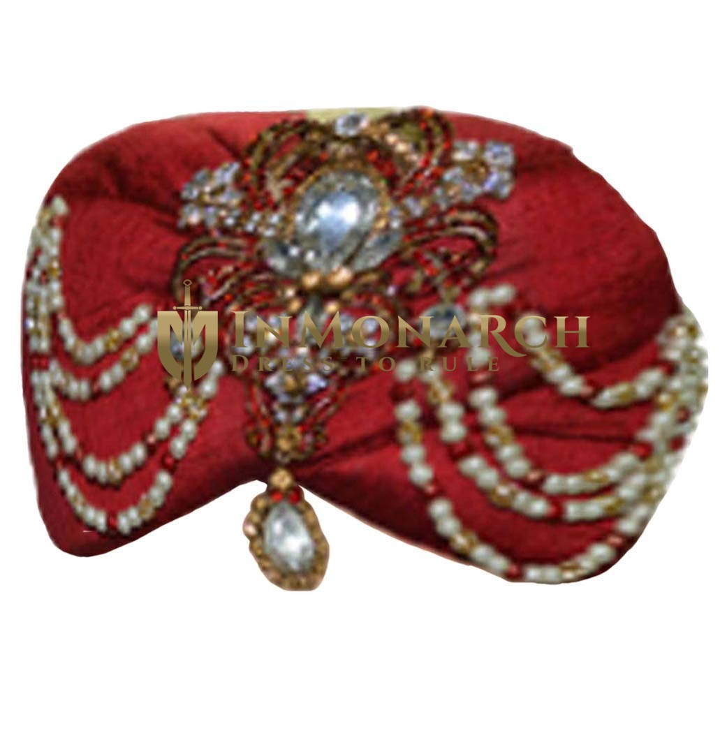 Wedding Maroon Turban Safa Hat For Groom