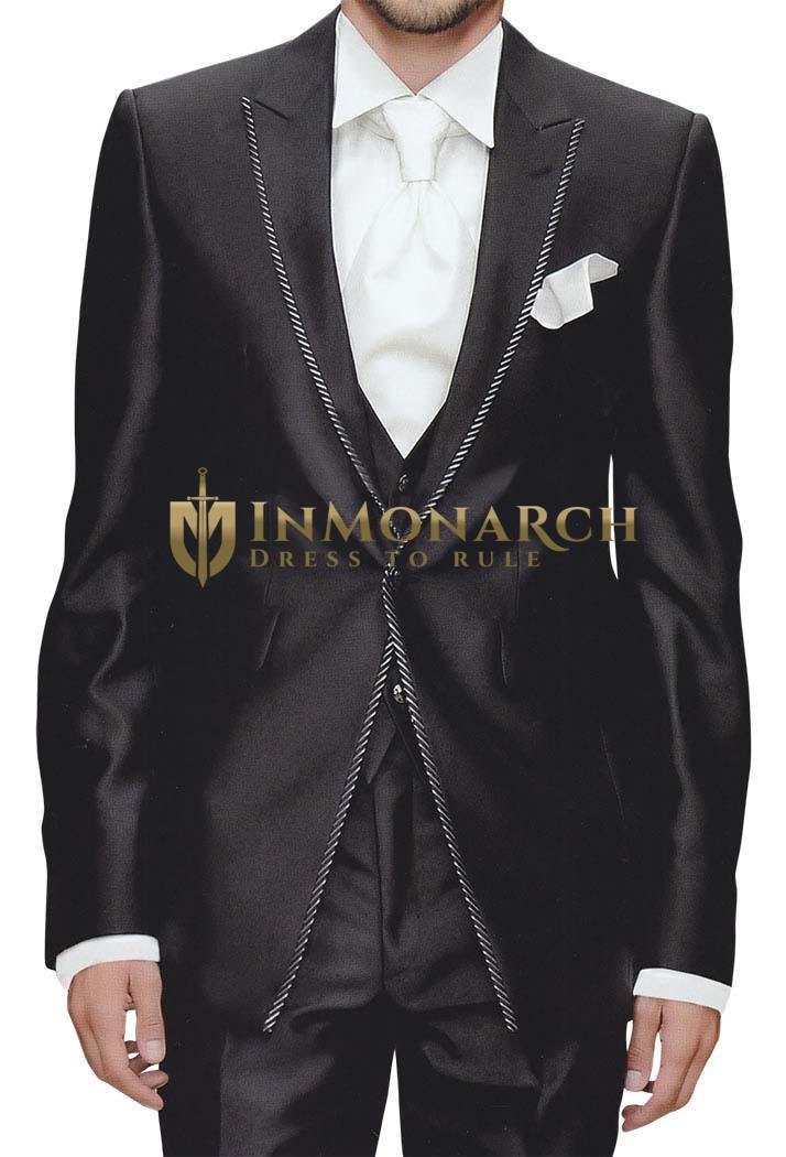 Mens Black Tuxedo Suit Famous Beach Wedding 6 Pc