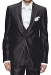 Mens Black Tuxedo Suit 6 Pc Peak Lapel