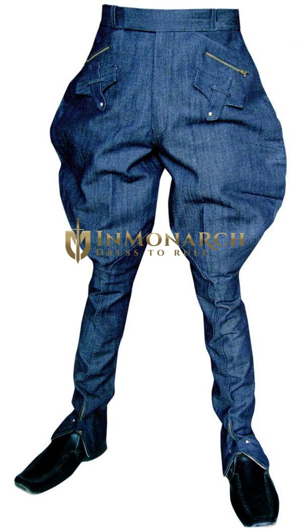 Mens and Womens Blue Jeans Fabric Baggy Breeches