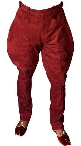 Girls Red Corduroy Breeches Riding Pants