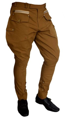 Dark Tan flair-hip riding breeches for men and women