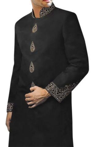 Mens Black Polyester 2 Pc Indo Western Designer