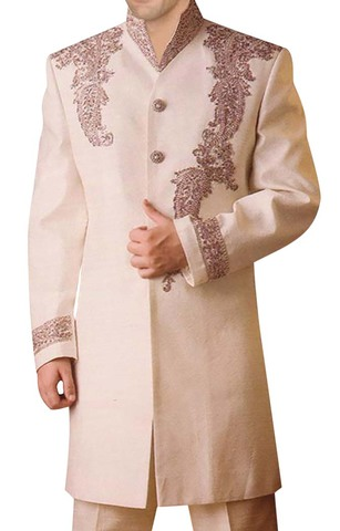 Mens Ivory 2 Pc Indo Western Superb Embroidered