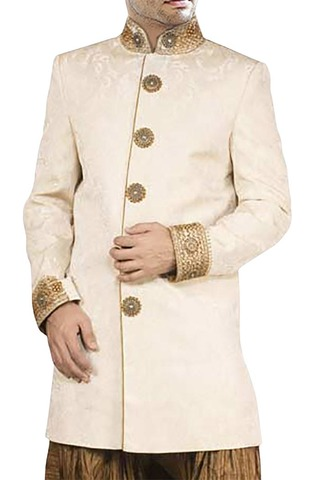 Mens Cream Long Coat 2 Pc Indo Western Suit Embroidered