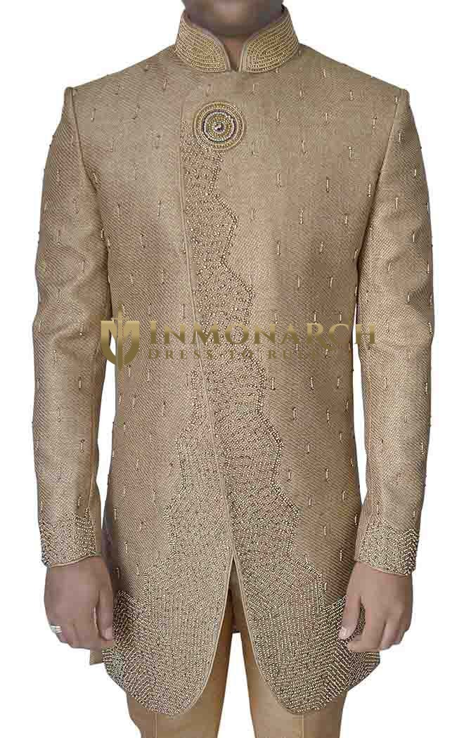 Mens Tan Color Jute 2 Pc Indo Western Embroidered