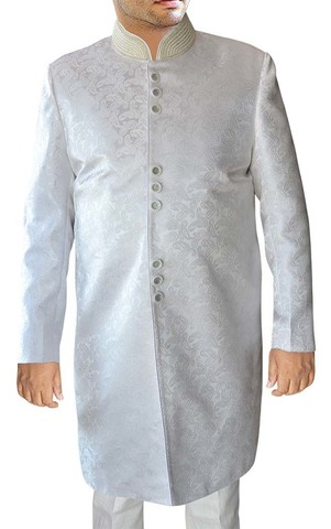 Mens White Brocade 2 Pc Indo Western Suit Embroidered