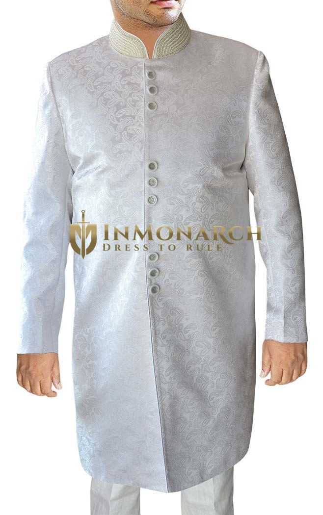 Indian Sherwani for Men White Indo Western Suit Sherwani Kurta Embroidered
