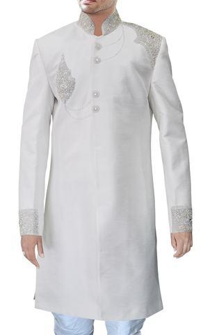 Mens Cream 2 Pc Indo Western Sherwani Wedding
