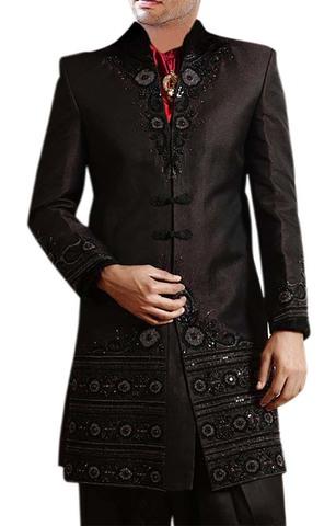 Mens Black Polyester 4 Pc Indo Western Sherwani