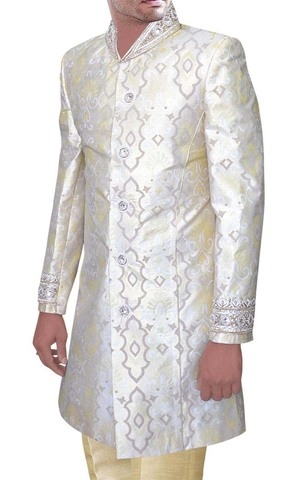 Mens Cream 2 Pc Indo Western suit Designer Collar