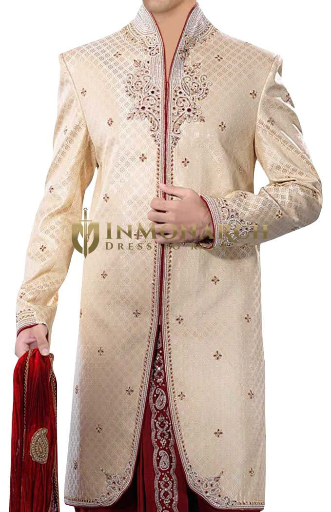 Sherwani for Men Wedding Ivory Indo Western Sherwani Suit Wedding Embroidered