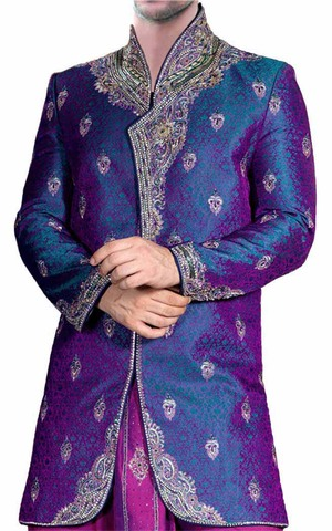 Mens Purple 2 Pc Indo Western Sherwani High Neck