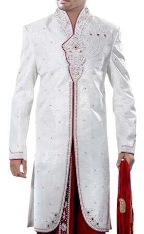 Mens White 2 Pc Indo Western Suit Embroidered High Neck