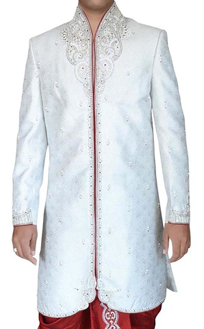 Mens White Brocade 2 Pc Indo Western High Neck