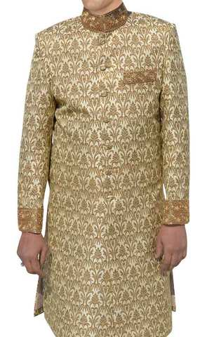 Mens Golden Wedding 2 Pc Indo Western Suit Designer
