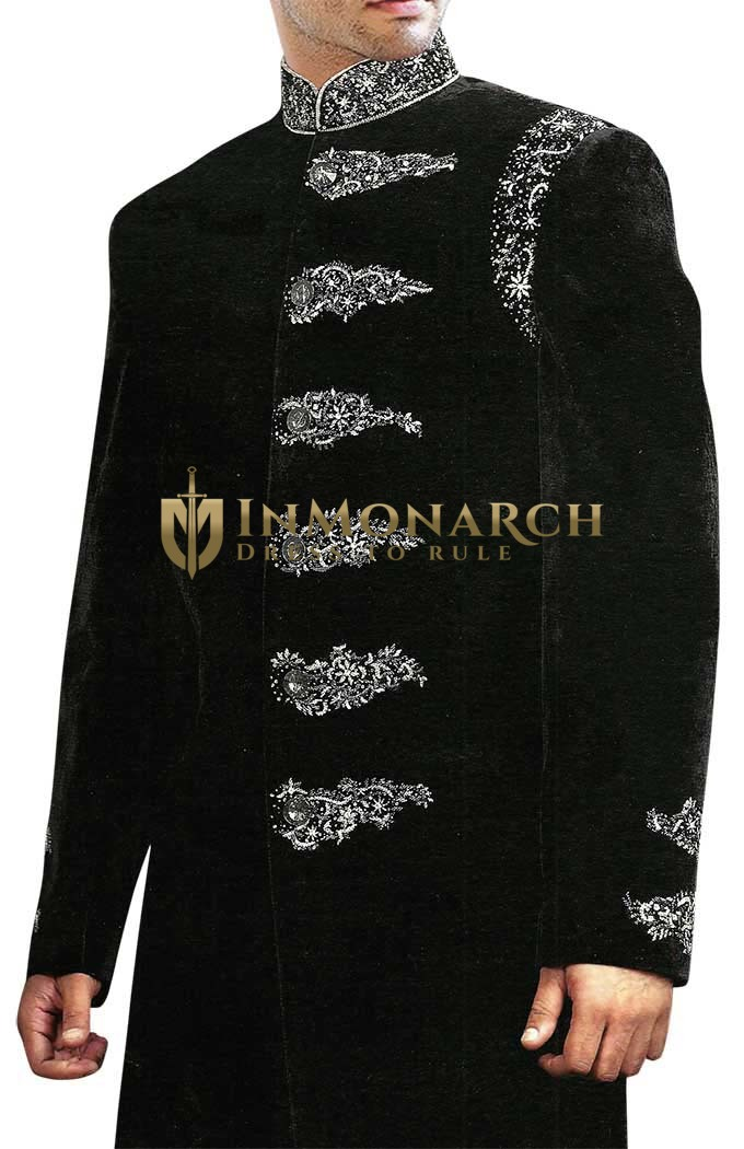Mens Black Velvet 2 Pc Indo Western Ethnic