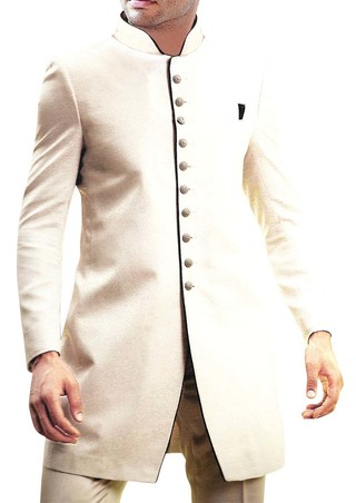 Mens Cream 2 Pc Indo Western Suit Groom Wear
