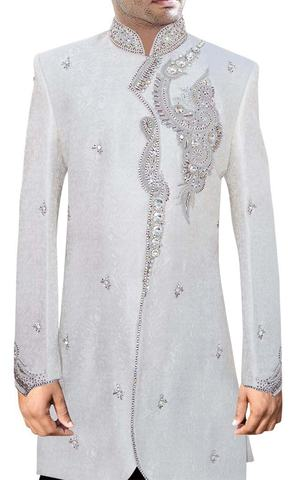 Mens White 2 Pc Indo Western Angrakha Style Embroided Work