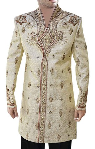 Mens Beige 2 Pc Indo Western Heavy Work V Neck