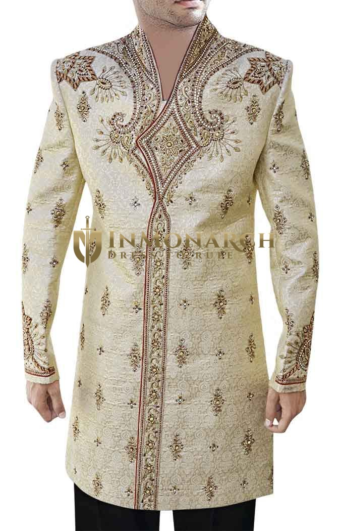 Indian Sherwani for Men Beige Indo Western Hand Work V Neck Sherwani