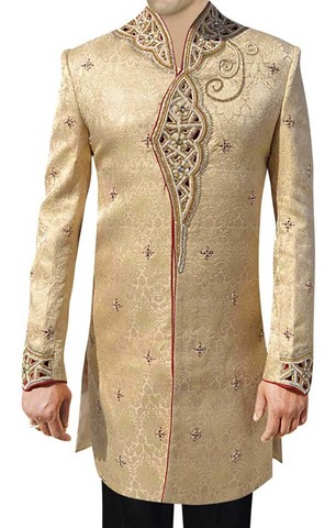 Sherwani for Men Golden Wedding Indo Western Sherwani Cut Work