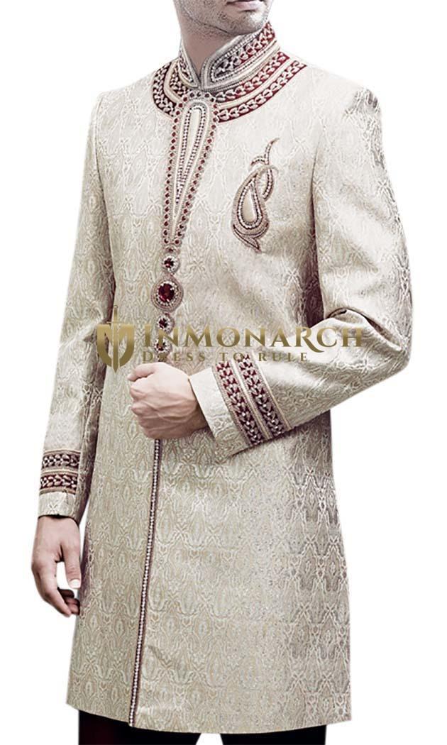 Mens Cream 2 Pc Indo Western Sherwani Hand Work