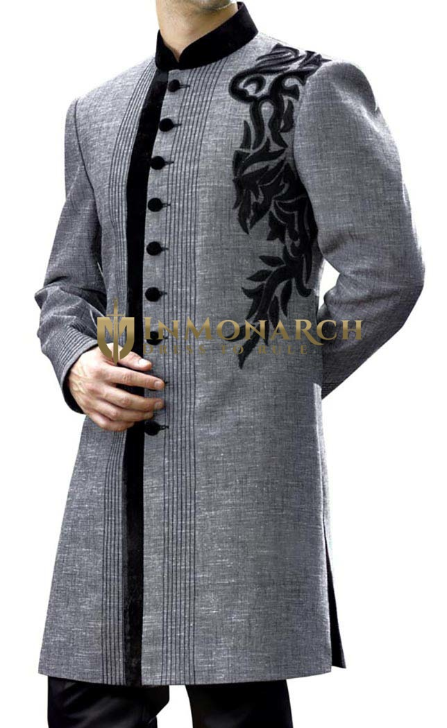 Mens Gray Wedding 2 Pc Indowestern Royal Designer