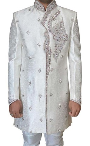 Mens Wedding Sherwani Cream Indowestern Hand Work Indian Sherwani for Men