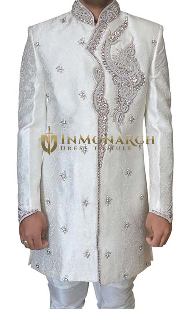 Mens Cream Brocade 2 Pc Indowestern Hand Work
