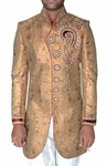 Mens Golden 2 Pc Indo Western Red Piping
