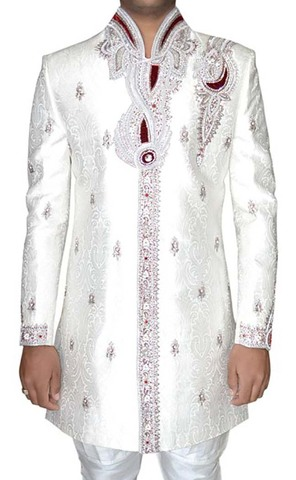 Mens White Brocade 2 Pc Indowestern Patch Work