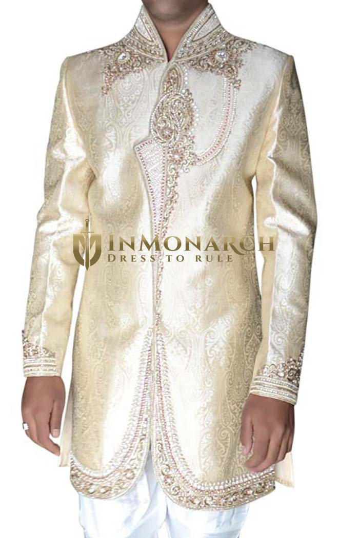 Indian Wedding for Men Beige Sherwani Designer Indowestern Bollywood