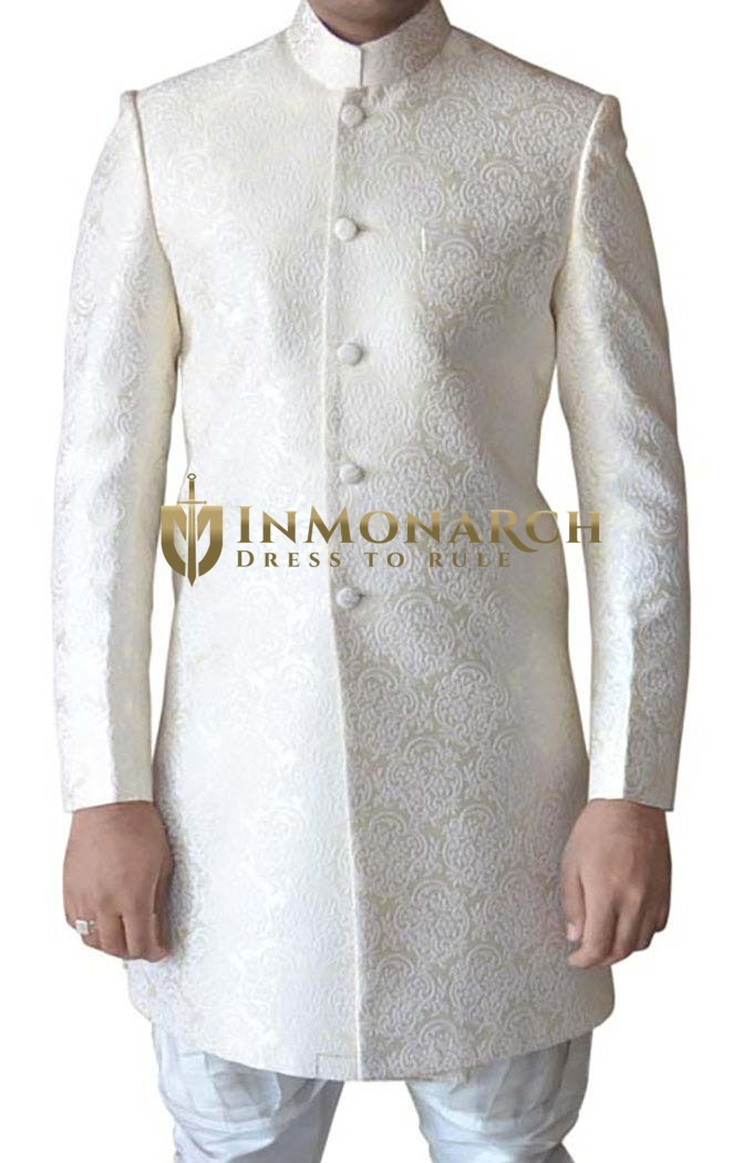 Mens Cream Brocade Jodhpuri Style 2 Pc Indowestern