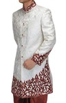Mens White 2 Pc Indo Western Maroon Patch Work